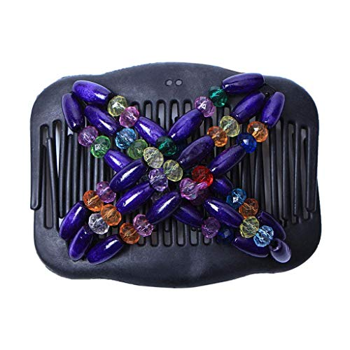 SimpleLif Magic Comb Beaded Double Easy Magic Stretchable Hair Comb Double Hairpin Decorations