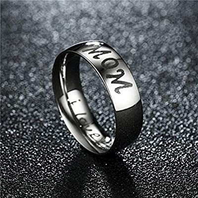 Boys Girls Womens Men Stainless Steel I Love You Mothers Fathers Day Ring Christmas Valentine Birthday Family Promise Bands LAFATINA Mom Dad Daughter Son Ring