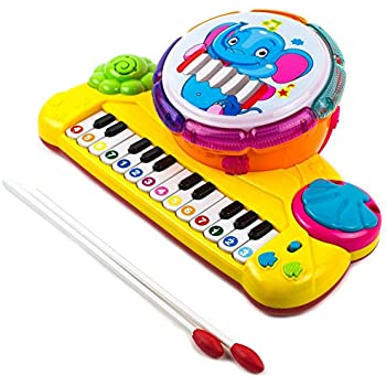 794d40c1c47f3 Toysery Multi-Functional Educational Drum Toy Set for Kids with Two  Drumsticks - Piano Toys for Toddler - Sparkling Lights   Music