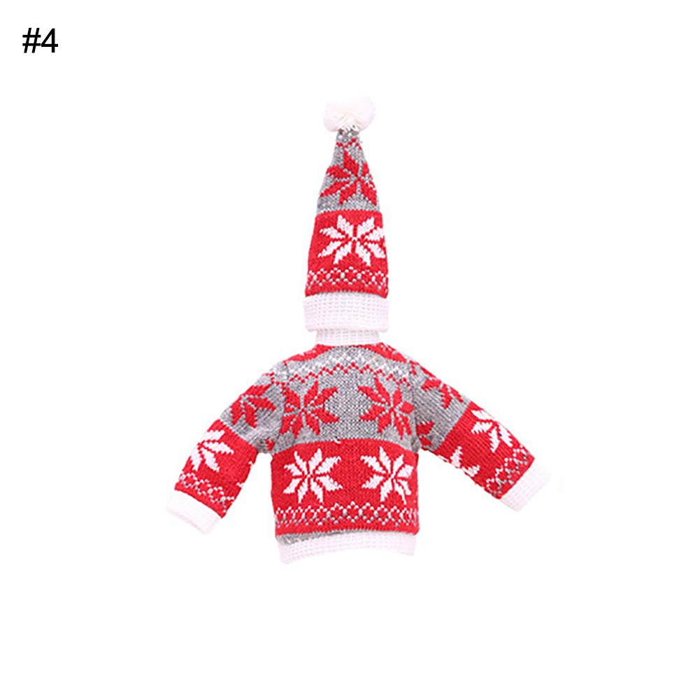 Alamana Cute Christmas Tree Snowman Snowflake Wine Bottle Sweater Cover Cap Celebrate Gift Party Table Decor Snowflake Red + Grey