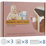 Child Safety Locks, HUIRUI Child Proof Cabinet Locks Magnetic Baby Drawer Lock Strong 3M Tape Installation No Tools Or Screws Needed with 8 Locks + 3 Keys