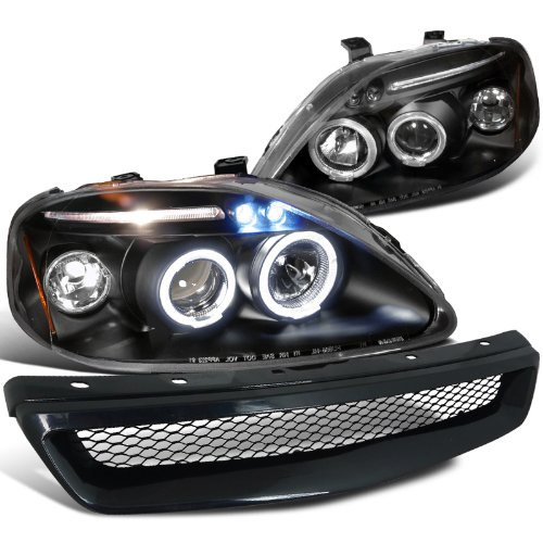 1999-2000 HONDA CIVIC LED PRO HEADLIGHTS+GRILL GRILLE (Halo Headlights Honda Civic 2000)