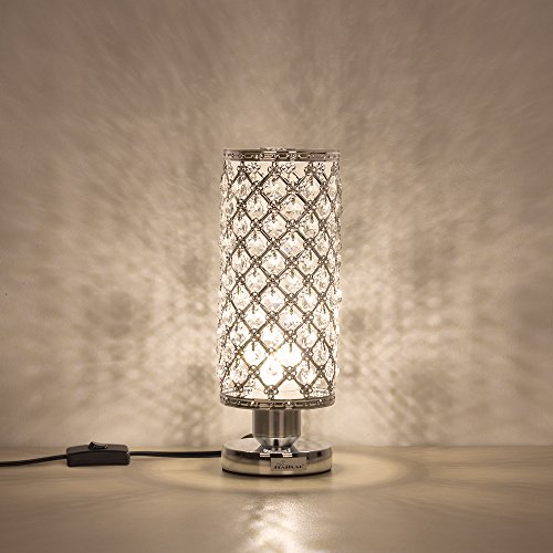 HAITRAL Crystal Table Lamp Decorative Room Reading Lamp for Bedroom, Living room Silver (Lamps Table)