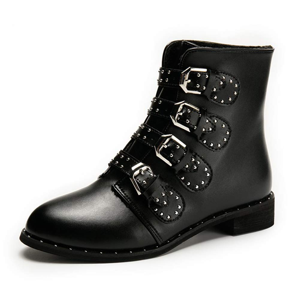 Amazon.com | Ankle Boots for Women Winter Black Motorcycle Boots Ladies Waterproof Boots Rivet Woman Shoes Botines Mujer 2018 | Ankle & Bootie