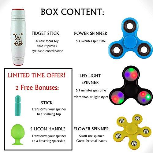 Best Fidget Spinner Set, Including 3 Spinners: LED Fidget Spinner, Blue High Speed Tri Spinner, Flower Spinner for Small Hands and the New Fidget Stick Toy. 2 Free Surprising Bonuses Inside!