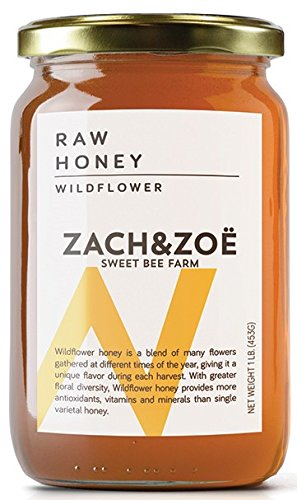 Ultra Raw Eye (Unfiltered Raw Wildflower Honey by Zach & Zoe Sweet Bee Farm – (1) 16oz Jar – Pure Farm Raised Honey Packed with Powerful Anti-oxidants, Amino Acids, Enzymes, and Vitamins!)