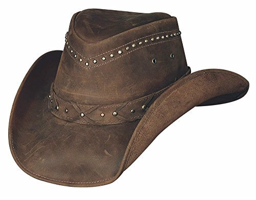 Montecarlo Bullhide Hats - BURNT DUST Top Grain LEATHER Western Cowboy Hat Brown Large