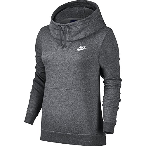 NIKE Sportswear Women's Funnel-Neck Hoodie, Charcoal Heather/Charcoal Heather/White, Small