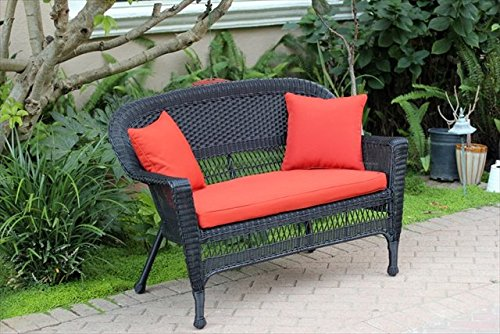 Charmant Resin Wicker Patio Loveseat Cushion And Pillows By Jeco