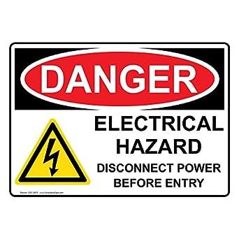 Compliancesigns Vinyl Osha Danger Electrical Hazard Disconnect Power