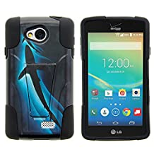 LG Optimus F60 Case, LG Transpyre Case, Dual Armor Fusion STRIKE Impact Kickstand Case with Unique Designs for LG Transpyre VS810PP, LG Tribute LS660, LG Optimus F60 (Verizon, Virgin Mobile, MetroPCS) from MINITURTLE | Includes Clear Screen Protector and Stylus Pen - Shark Silhouette