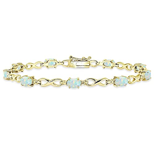 Yellow Gold Flashed Sterling Silver Simulated or Created Gemstone Oval Polished Infinity Classic Tennis Bracelet