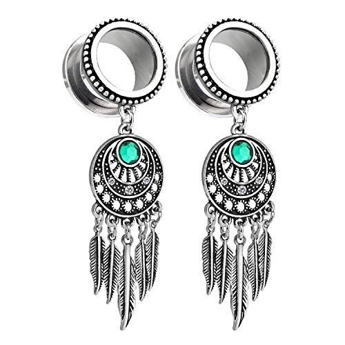 Tidoo Jewellery Women's Stainless Steel Bohemian Ear Expansion with Rhinestone for Girls(12mm) ()