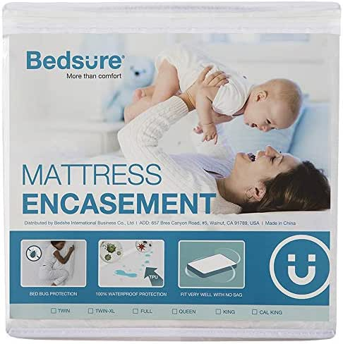 Bedsure Zippered Waterproof Mattress Encasement Twin(12-15 inches Deep Pocket) - Fitted Mattress Cover, Mattress Protector - 6 Sided, Breathable, Washable
