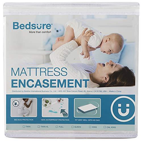 Bedsure Zippered Mattress Encasement Full Size (9-12 inches Deep), 100% Waterproof & Deep Pocket Mattress Cover, Mattress Protector - 6 Sided & Breathable