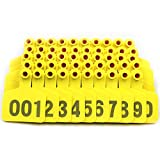 Livestocktool Cow / Cattle Ear Tags/ Yellow Ear Tags for Cattle with Number 001-100