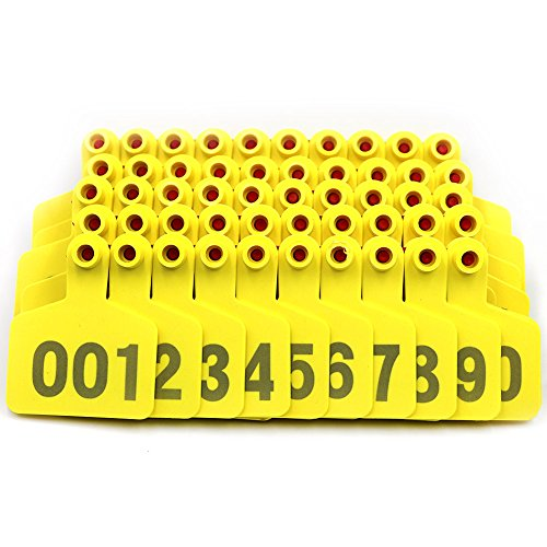 Cattle Ear Tags (Livestocktool Cow / Cattle Ear Tags/ Yellow Ear Tags for Cattle with Number 001-100)