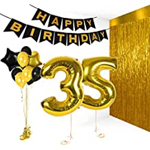 Treasures Gifted 35th Birthday Decorations | Happy Bday Banner | Party Kit for B-day Celebration | Supplies with Gold and Black Stars Balloons + Extra Large Golden Fringe Curtain