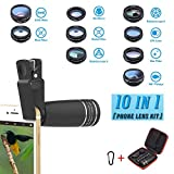 Phone Lens Kit, 10 in 1 Cell Phone Camera Lens- Zoom Telephoto Lens + Fisheye lens + Wide Angle & 15x Macro Lens+ CPL/Flow/Radial/Star Filter+Kaleidoscope 3/6 Lens for iPhone X 8 7 6 6s Plus Samsung
