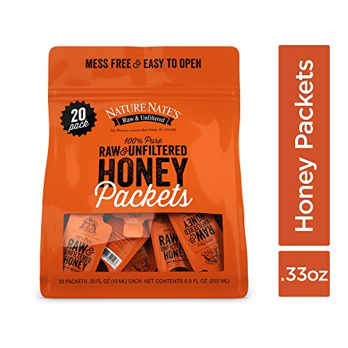 Nature Nates 100% Pure Raw & Unfiltered Honey; Small Honey Packets in Bulk (10 mL/PKT); 20 Count Bag; Enjoy Honeys Balanced Flavor, Just as Nature Intended; Fresh, Convenient and Easy to Carry Snack