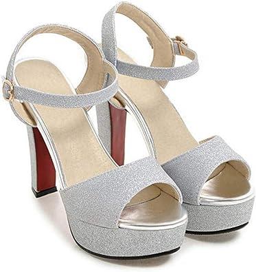 Hysxm Tacones Abiertos Para Mujer Sandalias Tallas Grandes 32 33 43 Plateado Altura De Tacon Sandalias De Fiesta Zapatos De Boda Bling 7 5 Silver Amazon Es Zapatos Y Complementos