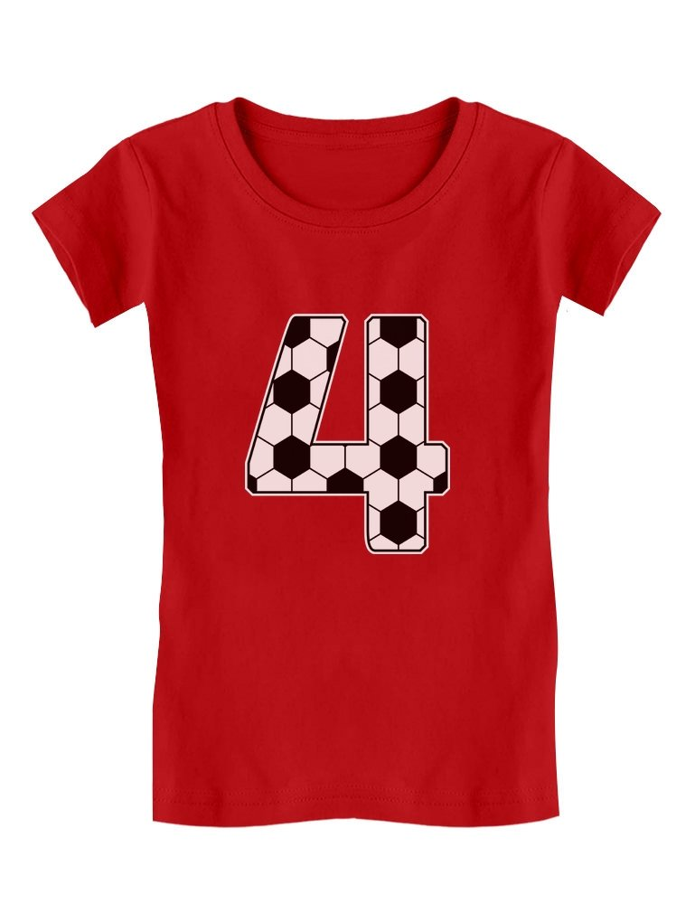 4 Year Old Soccer Fan 4th Birthday Gift Toddler/Kids Girls' Fitted T-Shirt