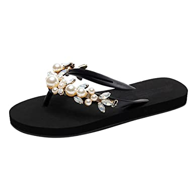 8d856cadf45f1 Women Ladies Fashion Summer Crystal Bohemian Style Slippers Beach Sandals  Shoes Black