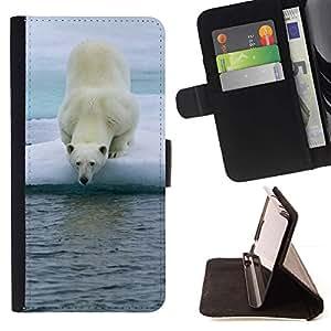 For Motorola Moto E ( 2nd Generation ) Case , Oso polar- la tarjeta de Crédito Slots PU Funda de cuero Monedero caso cubierta de piel
