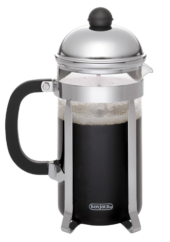 BonJour Coffee Stainless Steel French Press with Glass Carafe, 50.7-Ounce, Monet, Black Handle
