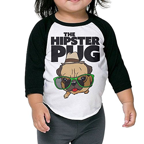 SH-rong The Hipster Pug Toddler Round Collar T-shirt Size4 Toddler ()