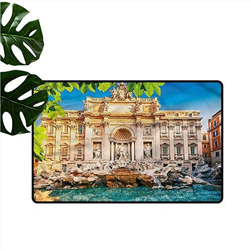 DUCKIL Interior Door mat Italy Fountain Di Trevi Tourist Breathability W16 xL24
