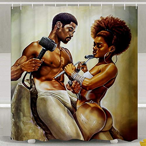 SARA NELL Shower Curtain African Couple Lover Sculpture Art Oil Painting Bath Curtains 66
