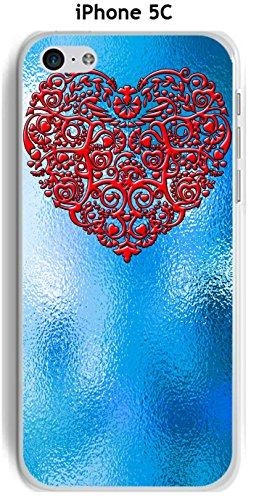 Cover Apple iPhone 5C Design Sfondo blu cuore rosso