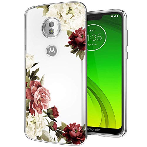 Moto G7 Power Case, Moto G7 Supra Phone Case with Flowers, Ueokeird Slim Shockproof Clear Floral Pattern Soft Flexible TPU Back Phone Cover for Motorola Moto G7 Power (Blossom Flower)