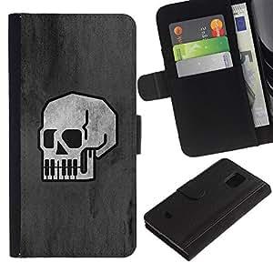 LECELL--Cuero de la tarjeta la carpeta del tirón Smartphone Slots Protección Holder For Samsung Galaxy S5 Mini, SM-G800 -- Minimalista Cráneo - B & W Goth --