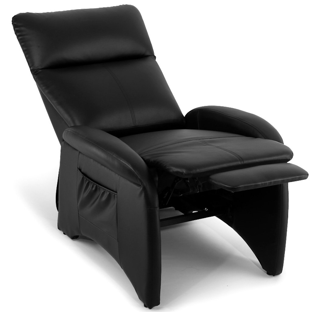 LANGRIA Premium Recliner Chair Faux Leather Sofa Padded Contemporary for Living Room Home or Office, Ergonomic Armrests/Footrests, Black
