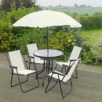 c261103b64 Jardin Mile® 6 pièces Crème Jardin de mobilier de jardin extérieur Ensemble  de salle à ...