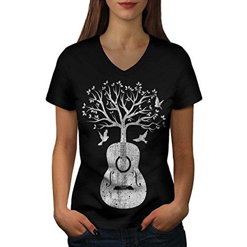 guitar-music-tree-life-melody-women-new-xl-v-neck-t-shirt-wellcoda