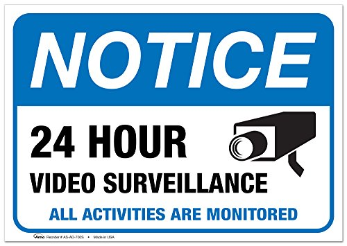 (2 Pack) Video Surveillance Vinyl Sign - 7x10