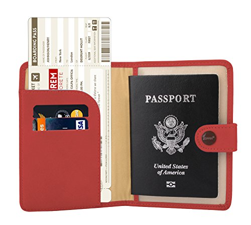 Zoppen Rfid Blocking Travel Passport Holder Cover Slim Id Card Case (#22 Scarlet Red)