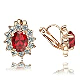 Yoursfs Clip Earrings For Women Red Crystal 18K Rose Gold Plated Fashion Jewelry Unique Cocktail CZ Bridesmaid Earring Gift
