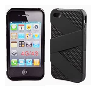 MESH CELL PHONE COVER SILICONE RUBBER SKIN CASE FOR APPLE IPHONE 4 4S BLACK AF001