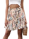 Simplee Women's Casual High Waisted Chiffon Skirt Summer Floral Print Mini Skirt Beige US 8