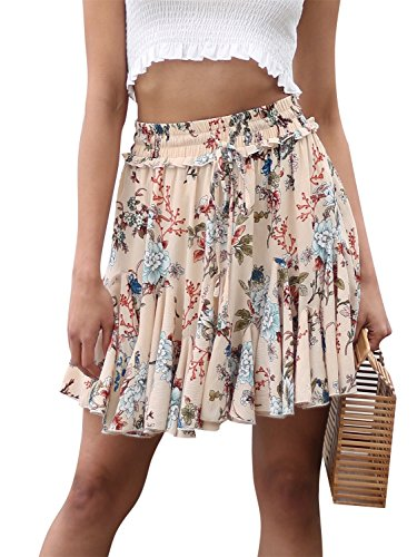 Missy Chilli Women's Floral Print Rufle Skater High Waist Short Casual Mini Skirt Print , Medium