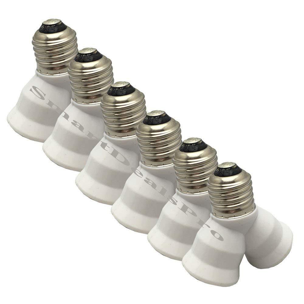 SmartDealsPro 6-Pack E27 Y Shape 1 Male to 2 Female LED Light Splitter Bulb Base Adapter Lamp HolderConverter