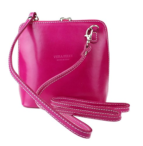 Handbag Genuine or Body Bag Italian Shoulder Mini Cross Vera Pelle Bag Fuchsia Leather Small vqARxvr