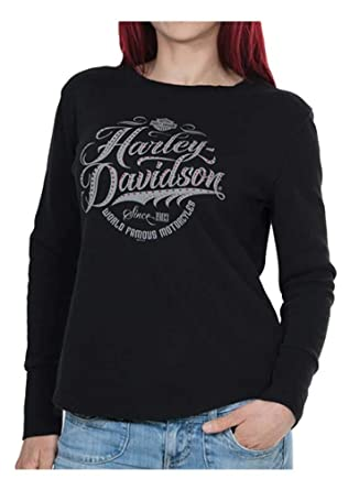 d214acbe Harley-Davidson Women's Famous Long Sleeve Thermal Tee w/Thumbholes, Black  (XL