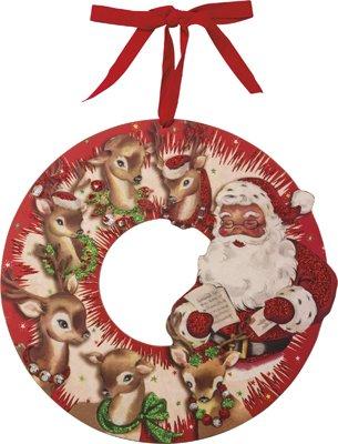 Red Vintage Santa & Reindeer Wood Wreath