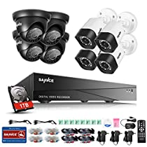 SANNCE 8-Channel HD 1080N Smart Security Camera System DVR with 1TB Hard Drive and (8) 720P Indoor/Outdoor Weatherproof Cameras with IR Night Vision LEDs