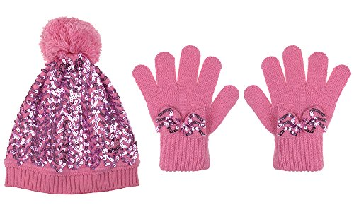 Capelli New York 2 Piece Set: Sequin Knit Skull Cap With With Pom & Poms Light Pink 7-14